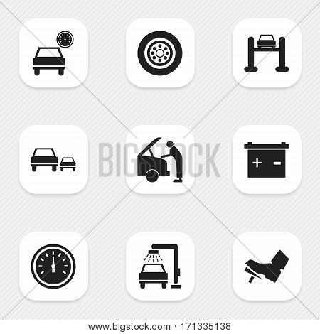 Set Of 9 Editable Vehicle Icons. Includes Symbols Such As Auto Service, Treadle, Vehicle Wash And More. Can Be Used For Web, Mobile, UI And Infographic Design.