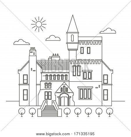 Interesting places Ireland. City. Architecture. Flat trend line illustration. Suitable for travel agencies design template.