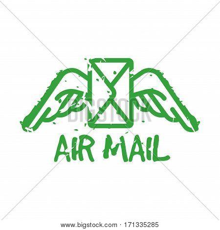 Vector vintage postage air mail stamp. Retro delivery envelope grunge print. Postmark design correspondence sign. Antique communication template texture.