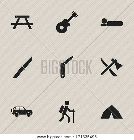 Set Of 9 Editable Trip Icons. Includes Symbols Such As Bedroll, Knife, Tomahawk And More. Can Be Used For Web, Mobile, UI And Infographic Design.