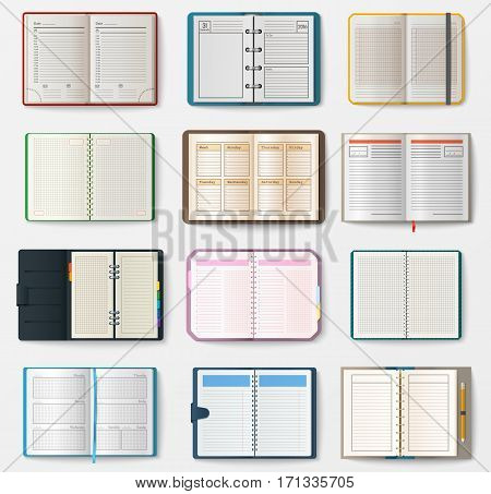 Set of open notebooks with pages vector illustration. Diary office sheet template booklet. Blank paper education copybook organizer. Memo hardcover textbook.