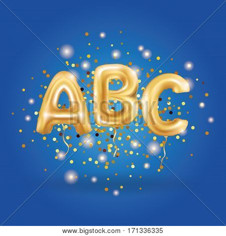 ABC gold letter balloons on blue background. Golden alphabet balloon logotype, icon logo. Metallic Gold ABC Balloons. Shine type for school, study, children, kids, read. Shiny bright font in the air.