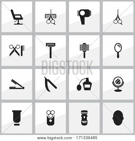 Set Of 16 Editable Tonsorial Artist Icons. Includes Symbols Such As Brains, Cut Tool, Scent And More. Can Be Used For Web, Mobile, UI And Infographic Design.