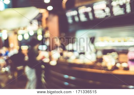 Blurred Background : Vintage Filter ,customer At Counter Bar At Coffee Shop Blur Background With Bok