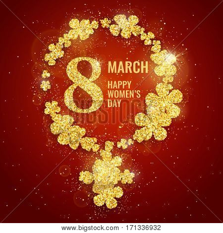 Vector Happy Women's Day greeting card with female gender symbol made with sparkling gold glitter flowers on red background. 8 march luxury background
