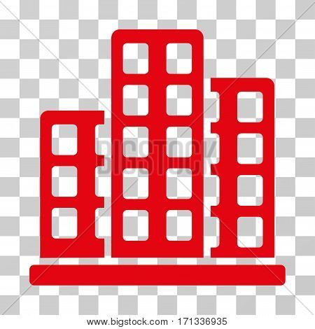 City icon. Vector illustration style is flat iconic symbol red color transparent background. Designed for web and software interfaces.