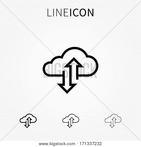 Cloud transfer vector icon. Remote storage upload and download process graphic design. Internet data storage server technology concept. Cloud transfer line art pictogram.
