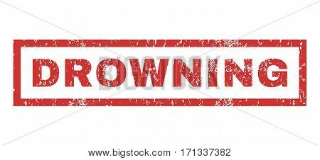 Drowning text rubber seal stamp watermark. Tag inside rectangular shape with grunge design and unclean texture. Horizontal vector red ink emblem on a white background.