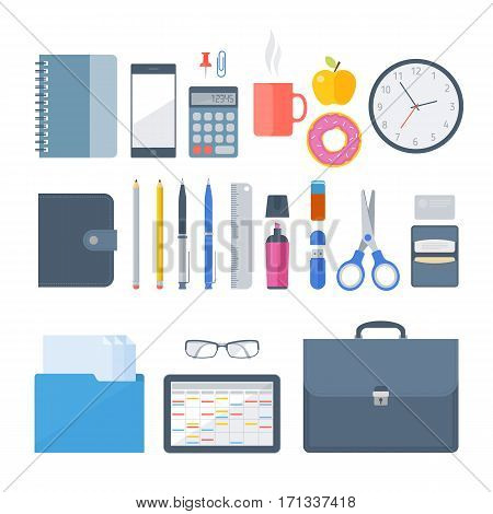 Business office workplace items. Vector flat illustration of top view objects. Isolated business office school workspace accessories on white background. Infographic elements for web presentation.