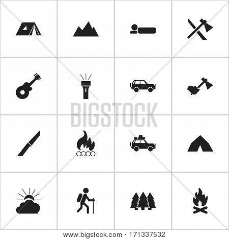 Set Of 16 Editable Camping Icons. Includes Symbols Such As Gait, Tomahawk, Fever And More. Can Be Used For Web, Mobile, UI And Infographic Design.