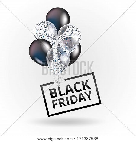 Balloons Black friday. White balloon sparkles sale background. Black friday sale logo for banner, web, flyer, header design. Christmas and new year sale. Black white transparent balloon on background