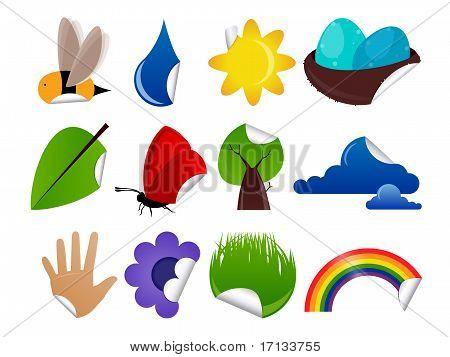 Spring Summer Sticker Design Elements Set