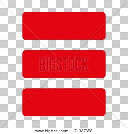 Database icon. Vector illustration style is flat iconic symbol red color transparent background. Designed for web and software interfaces.