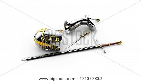 medieval knight sword, horn and crown, 3d illustration isolated white