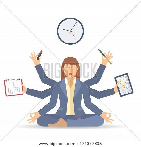 Business multitasking time management. Flat vector concept isolated illustration. Businesswoman at work meditates with calendar schedule timetable in the hands. Busy woman's office meditation.