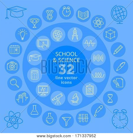 School icons and science icons. Education and scientific thin line icon set. School and chemical lab supplies accessories and tools. Infographic elements for web print brochures and presentations.