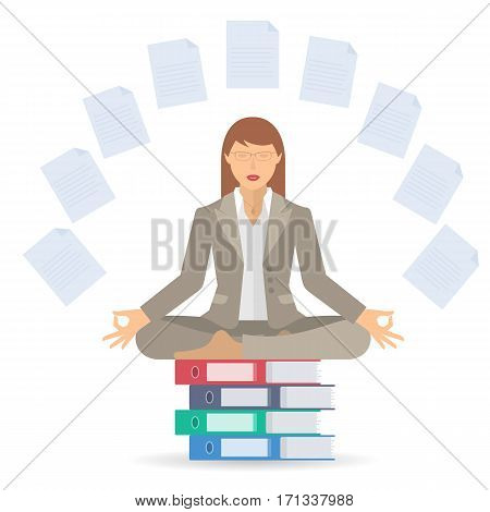 Businesswoman meditates at work in the lotus pose. Manager surrounded with office documents sitting on the folders pile. Flat vector business concept infographic and illustration of woman meditation.