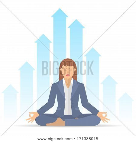 Woman meditates at work in the lotus pose. Businesswoman sitting in an office on a background of increasing graphs. Flat vector business concept illustration of manager meditation. Infographic element