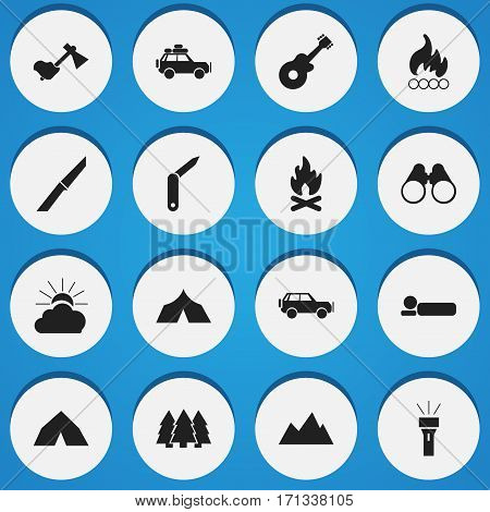 Set Of 16 Editable Camping Icons. Includes Symbols Such As Peak, Refuge, Blaze And More. Can Be Used For Web, Mobile, UI And Infographic Design.