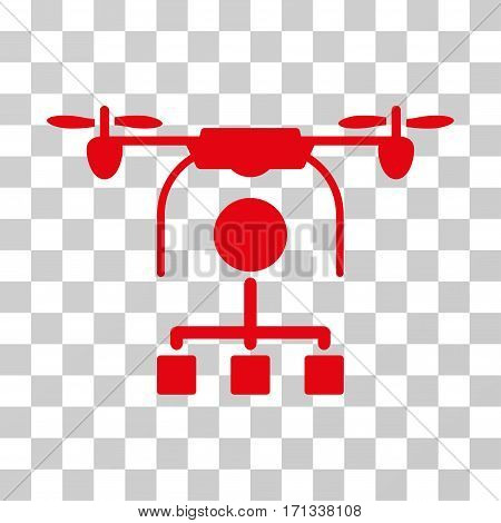 Drone Distribution icon. Vector illustration style is flat iconic symbol red color transparent background. Designed for web and software interfaces.
