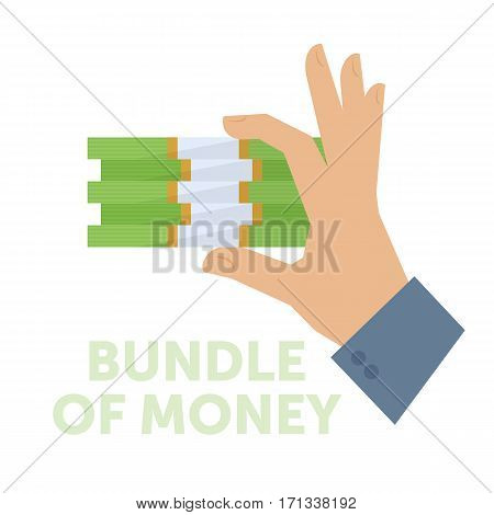Businessman holding a bundle of money. Flat isolated on white background vector design element for web infographic presentation. Busines savings concept illustration of hand paper american dollars.