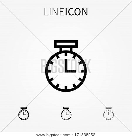 Time vector icon. Watch outline web symbol creative concept. Countdown timer line art graphic design. Clock thin pictogram alarm sign.