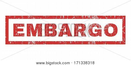 Embargo text rubber seal stamp watermark. Caption inside rectangular shape with grunge design and unclean texture. Horizontal vector red ink sticker on a white background.
