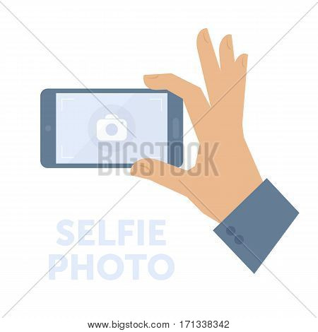 Man taking selfie photo on smart phone. Flat isolated on white background vector design element for web infographic presentation. Selfie concept illustration of hand holding a smartphone and shooting