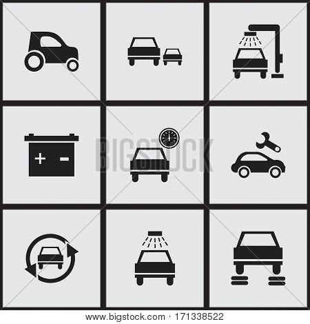 Set Of 9 Editable Traffic Icons. Includes Symbols Such As Accumulator, Race, Automotive Fix And More. Can Be Used For Web, Mobile, UI And Infographic Design.
