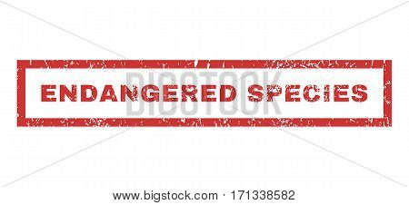 Endangered Species text rubber seal stamp watermark. Caption inside rectangular banner with grunge design and unclean texture. Horizontal vector red ink sign on a white background.