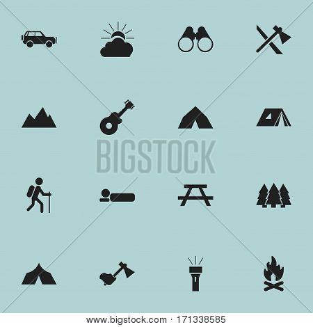 Set Of 16 Editable Camping Icons. Includes Symbols Such As Sunrise, Ax, Bedroll And More. Can Be Used For Web, Mobile, UI And Infographic Design.