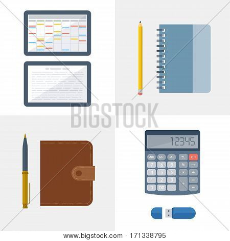 Office and school workplace equipment set. Vector flat illustration of objects and tools. Isolated on white background stationery. Business and education workspace supplies. Web infographic elements.