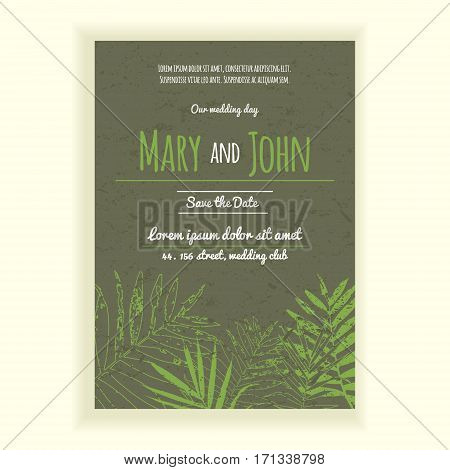 Greenery wedding invitation card. 2017 trendy colors wedding invitation. Card with palm leaves in colors of the year 2017.