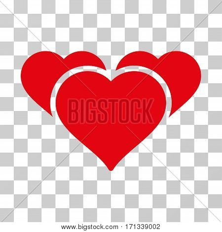 Favourite Hearts icon. Vector illustration style is flat iconic symbol red color transparent background. Designed for web and software interfaces.