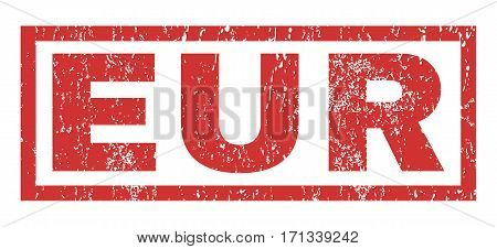 Eur text rubber seal stamp watermark. Tag inside rectangular banner with grunge design and scratched texture. Horizontal vector red ink emblem on a white background.