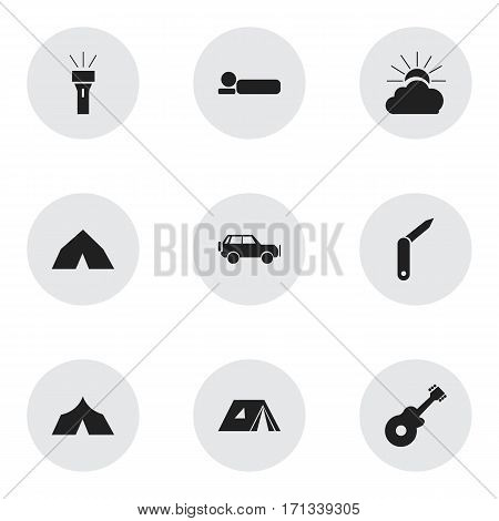 Set Of 9 Editable Camping Icons. Includes Symbols Such As Bedroll, Tepee, Refuge And More. Can Be Used For Web, Mobile, UI And Infographic Design.