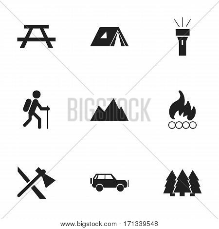 Set Of 9 Editable Trip Icons. Includes Symbols Such As Tomahawk, Lantern, Shelter And More. Can Be Used For Web, Mobile, UI And Infographic Design.