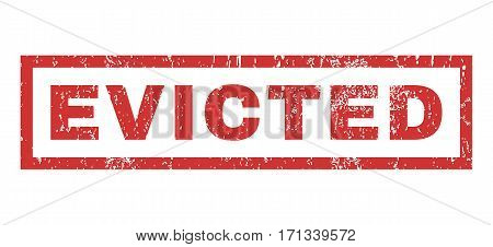 Evicted text rubber seal stamp watermark. Tag inside rectangular shape with grunge design and dust texture. Horizontal vector red ink sticker on a white background.
