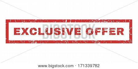 Exclusive Offer text rubber seal stamp watermark. Tag inside rectangular banner with grunge design and dirty texture. Horizontal vector red ink sticker on a white background.
