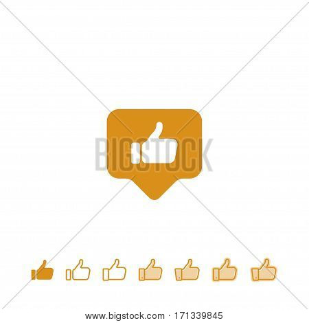 Button hand with thumb finger up. Like social icon.