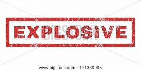 Explosive text rubber seal stamp watermark. Tag inside rectangular banner with grunge design and unclean texture. Horizontal vector red ink sticker on a white background.