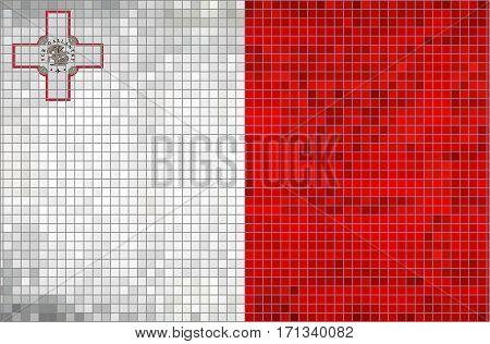 Abstract Mosaic Flag of Malta - illustration,  Grunge mosaic Maltese flag
