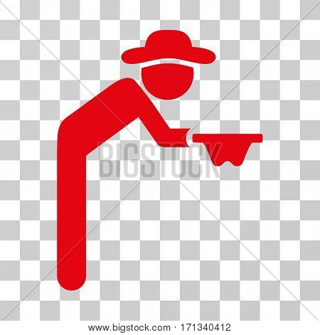 Gentleman Beggar icon. Vector illustration style is flat iconic symbol red color transparent background. Designed for web and software interfaces.