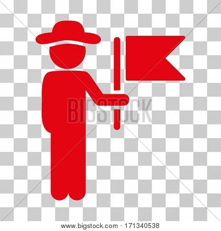Gentleman Commander icon. Vector illustration style is flat iconic symbol red color transparent background. Designed for web and software interfaces.
