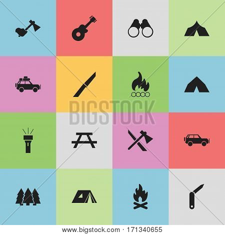 Set Of 16 Editable Trip Icons. Includes Symbols Such As Voyage Car, Blaze, Field Glasses And More. Can Be Used For Web, Mobile, UI And Infographic Design.