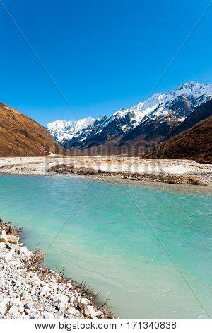 Langtang Gangchenpo Peak Himalayan Mountains River