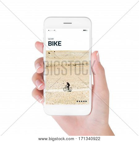 woman using her smart phone for searching the travel information of bike cycling through remote area on rugged road in Himalayan. Traveling concept isolated on white background.