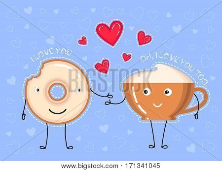 funny vector illustration of donut with glaze coffee cup what make a declaration of love and red hearts on blue background