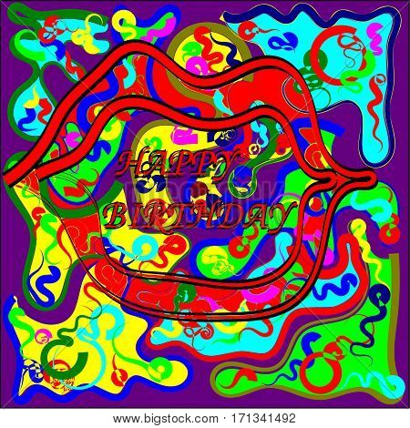 Abstract seamless colored fragments of pieces with colored threads of red, pink and blue, green and yellow waves from the center tend to throughout the pattern and open mouth with red lips in the center of the picture and the inscription in the mouth happ