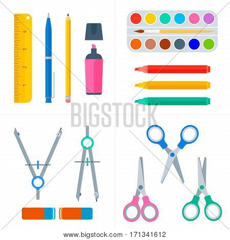 Education and school workplace supply set. Vector flat illustration of pupil stationery. Isolated on white background school objects and tools. Education workspace equipment. Web infographic elements.